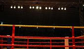 image of boxing ring  - Yellow and red boxing ring ropes with lights above - JPG