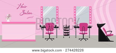 poster of Hair Salon Interior In A Pink Color. Beauty Salon. There Are Tables, Chairs, A Bath For Washing The