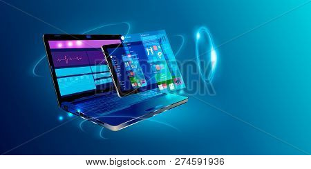 poster of Software, Web Development, Programming Concept. Abstract Programming Language And Program Code On Sc