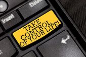 Handwriting Text Writing Take Control Of Your Life. Concept Meaning Be The Analysisager Of Your Dest poster