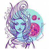 Portrait Of The Girl Symbolizes The Zodiac Sign Scorpio. poster