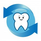 Oral hygiene concept. A healthy white tooth in a protective bubble.