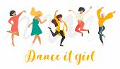 Dancing Woman Isolated On White Background. Group Of Dancers Enjoy Party. Cute Female Characters In  poster