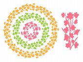Set Of Round Vintage Floral Borders, Circle Frames From Narcissus Flowers  Silhouettes. Flowers Vect poster