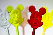 five colorful plastic mice