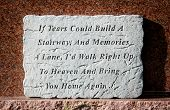 stock photo of funeral home  - Tears poem memories in a graveyard made of stone - JPG