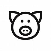 Pig Head Icon Isolated On White Background. Pig Head Icon In Trendy Design Style. Pig Head Vector Ic poster