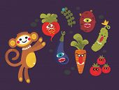 Set of cute vegetables monsters and a monkey.