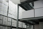 Interior of modern warehouse, many boxes