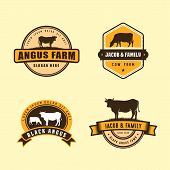 Black Angus Logo Design Template. Cow Farm Logo Design poster