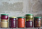 Variety Of Preserved Food In Glass Jars - Pickles, Jam, Marmalade, Sauces, Ketchup. Preserving Veget poster