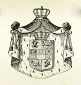 Wappen des Großherzogtums Mecklenburg Schwirin. Illustration von Alwin Zschiesche, veröffentlicht am