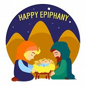 Happy Epiphany Jesus Birth Concept Background. Cartoon Illustration Of Happy Epiphany Jesus Birth Ve poster