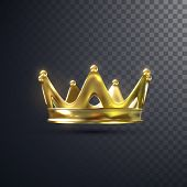 Golden Crown Isolated On Transparent Background. Realistic Vector Illustration. Monarchy Sign. Royal poster