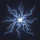 Lightning Thunder. Flash Electricity, Spark Strike, Blue Light Blitz Electric Flare, Natural Energy  poster