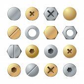 Bolt Heads. Metal Head Pin Nail Rivet, Brass Screw. Industrial Top View Steel Fasteners, Repair Scre poster