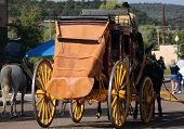 picture of stagecoach  - Stagecoach with horses as seen in 2007 parade celebrating the 125th anniversary of Payson Arizona - JPG