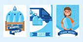 Water Bottle Vector Man Woman Character Delivering Water Drink Liquid Aqua Bottled In Plastic Contai poster
