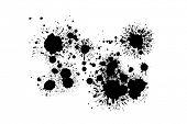 black ink splatters on white background poster