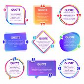 Quote Box Frame. Mention Text Frames, Remark Speech Bubble And Sentences Quotes Words Boxes Vector S poster