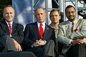 NEW YORK - JUNE 25: New York City Mayor Michael Bloomberg (C), US Sen Chuck Schumer (L) and others a