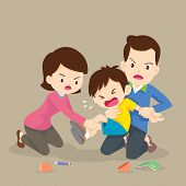 Father And Mother Handle Angry Boy,family Have Worry With Rampage Angry Boy.aggressive Children poster