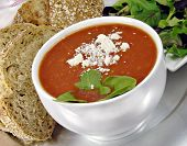 Tomato Basil Soup With Bread And Salad