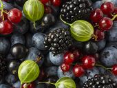 Mix Berries And Fruits. Ripe Blackberries, Blueberries, Blackcurrants, Red Currants And Gooseberries poster
