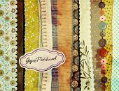 Gypsy Patchwork, hand-painted background with colorful patterned fabric/paper swatches, various bord