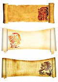 Scrolls with American Indian traditional patterns. Isolated over white