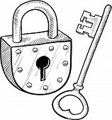 Antique lock and key sketch