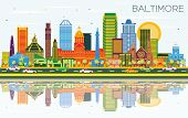 Baltimore Maryland City Skyline with Color Buildings, Blue Sky and Reflections. Business Travel and  poster