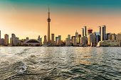 Spectacular Toronto Skyline At Sunset,  Toronto, Ontario, Canada. poster
