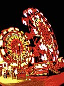 Two Ferris Wheels At Night_Vector