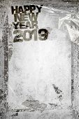 2019 Happy New Year Grunge Background With Grungy Frame And Remains Of Scotch Tape And Cellophane. F poster