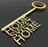 Key With Sweet Home Text As Symbol For Property And Security poster