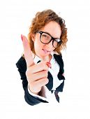 Business woman wag his finger. Wide angle top view humorous portrait