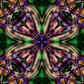 Kaleidoscopic Psychedelic Pattern. Abstract Symmetric Luminous B poster