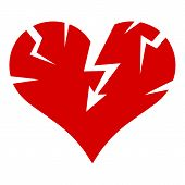 Cracked Heart Icon. Simple Illustration Of Cracked Heart Icon For Web Design Isolated On White Backg poster