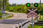 Railway Traffic Lights With A Green Signal. Railway And Road Crossing. Permissive Motion Signal. poster