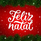 Feliz Natal Portuguese Merry Christmas Calligraphy Text And Border Of Fir Tree Branches On Red Backg poster