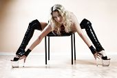 picture of stripper shoes  - Stripper on chair - JPG