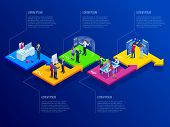 Isometric Presentation Business Infographics Template With 5 Options. Business Data Visualization, D poster