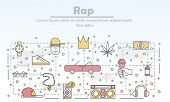 Vector Thin Line Art Rap Music Poster Banner Template poster