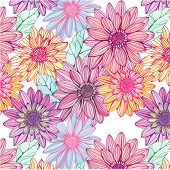 seamless pattern with colorful flowers