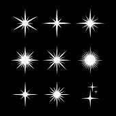 Set Of Sparkle Star, Sparkles Star Isolated Vector. Sparkle Light. Sparkling Stars. Sparkles Black S poster