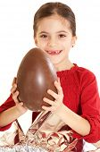 stock photo of easter_break  - child with chocolate egg - JPG