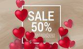 Sale With Valentine Hearts Abstract Composition With 3d Hearts And Bantings. Illustration. Love Lett poster