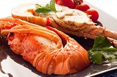 cut lobster with tomatoes