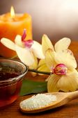 picture of stress relief  - spa oil massage on bowl and bath salts - JPG